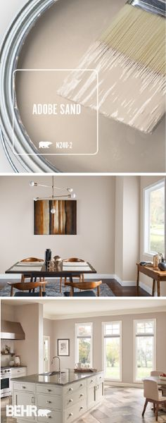 ... A Light Neutral Color Palette Fill Your Home With Natural Light, Making  It A Bright And Inviting Space. Adobe Sand, By BEHR® Paint, Is Used On The  Walls ...
