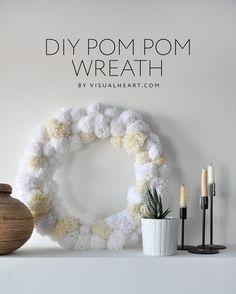 Easy DIY Anthropologie inspired pom pom wreath