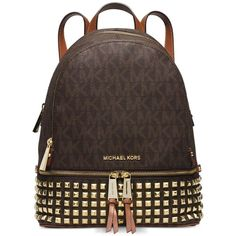 Michael Michael Kors Rhea Zip Small Studded Backpack ($358) ❤ liked on Polyvore featuring bags, backpacks, black, zipper backpack, black rucksack, black travel bag, michael kors bags and michael kors backpack