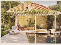 pool, pergola, back yard