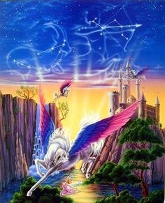 Lovely! Vibrant and lively! Bring home this beautiful Mythical Pegasus horse castle fantasy kids room art print poster. It would be a perfect accent to your living room. Pegasus is very popular horse Greek mythology, He is said to be the descendant of the Greek god Poseidon and the Gorgon Medusa. You'll surely enjoy this poster at every moment you look at it. So Hurry up and buy this charming wall poster for its wonderful paper quality with perfect color accuracy.