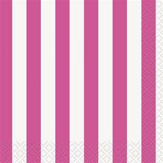 Hot Pink Striped Beverage Napkins 16ct - 325040 | Party-ify! #stripes #pinkstripes #napkins #beveragenapkins