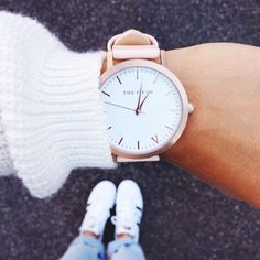 The essentials // @andicsinger snapping her Rose Gold & Peach timepiece   The Fifth Watches // Minimal meets classic design: www.thefifthwatches.com