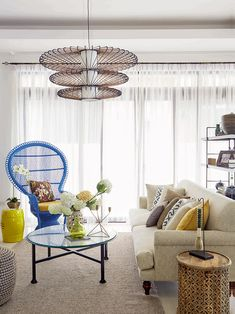A Contemporary Asian Three-Storey Family Home Oriental Design, Home Hacks, Living Room Interior, Hanging Chair, House Tours, Wicker, Living Spaces, Home And Family, Asian