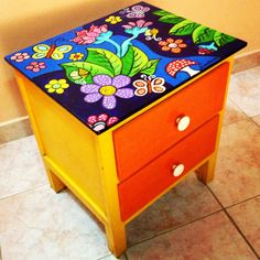 Whimsical Painted Furniture, Hand Painted Furniture, Funky Furniture, Colorful Furniture, Repurposed Furniture, Furniture Makeover, Painted Wooden Boxes, Painted Stools, Painted Drawers