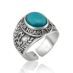 Sterling Silver Men's College Ring, Men's Turquoise Ring $155.00 BozBuys Budget Buyers Best Brands! ejewelry & accessories… Happy browsing!   :) http://www.BozBuys.com
