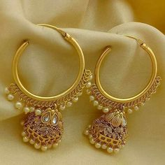 Golden earrings with pearl finish/ ❤❤♥For More You Can Follow On Insta @love_ushi OR Pinterest @ANAM SIDDIQUI ♥❤❤ #IndianJewelry