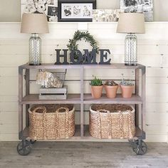 Display your favorite farmhouse finds in this DIY industrial cart console table! Head over to @shanty2chic for all of the building plans and details on the decor. #farmhousestyle #DIY #wayfair