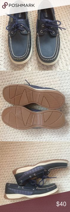 Sperry's Bluefish Navy blue with silver details on the sides. Worn once. Size 6.5. Sperry Top-Sider Shoes Flats & Loafers