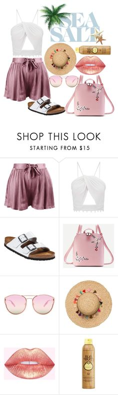 """Untitled #1262"" by leen-ghishan ❤ liked on Polyvore featuring Birkenstock, WithChic, Quay and Sun Bum"