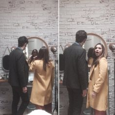 Jason Ralph catches Hale Appleman and Summer Bishil primping in the mirror behind the scenes of #TheMagicians (via RasonJalph on Twitter)