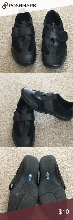 Dr. Scholl's Black Shoes Air pillo insoles.  Leather upper, balance man made material in China.  Velcro across top for closure.  Some wear on bottom as shown in picture. Dr. Scholl's Shoes Flats & Loafers