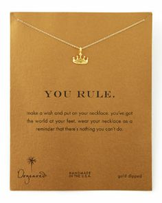 Y1KU0 Dogeared Golden You Rule Crown Pendant Necklace