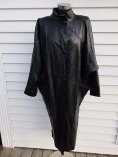 66cc8402826 Vintage 1980 s Black Leather Cocoon Duster Jacket Vera Pelle Avant Garde   VeraPelle  BasicCoat