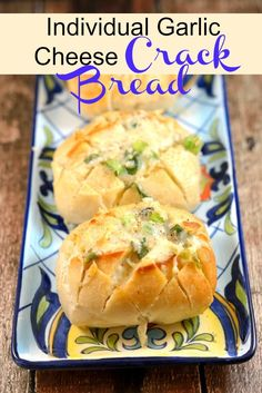 Individual Crack Bread Recipe- Make individual servings of garlic cheesy pull apart bread, also known as crack bread. It is sure to be addicting and a family favorite!