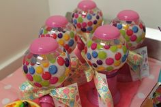 Gumball favors at a Candy Party!  See more party ideas at CatchMyParty.com!  #partyideas #candy