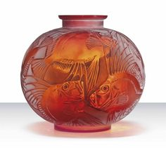 POISSONS VASE, NO. 925 designed 1921, cased red / orange and white stained, engraved R. Lalique France