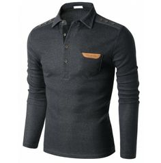 Men's Fashion Long Sleeve Polo T-shirt with Snap Buttons at Shoulder Doublju(KMTTL0148)
