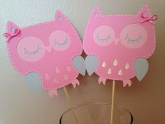 Baby Shower Owl Pick Pink and Grey, It's a Girl, New Baby Custom Color Choice