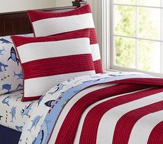 Rugby Stripe Quilted Bedding #PotteryBarnKids-For my son, just the quilt, not the sheet set.