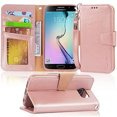S6 Case, Arae Samsung Galaxy S6 wallet case,[Wrist Strap] Flip Folio [Kickstand Feature] PU leather wallet case with ID&Credit Card Pockets For Samsung Galaxy S6 (rosegold) #Case, #Arae #Samsung #Galaxy #wallet #case,[Wrist #Strap] #Flip #Folio #[Kickstand #Feature] #leather #case #with #ID&Credit #Card #Pockets #(rosegold)