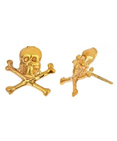 Skull Stud Earrings  The skull stud earrings make a fierce style statement in luxe 14k gold plate. Each stud has a distinctive skull and crossbones design that you'll love wearing day or night. The post backs are designed for pierced ears.  $30.00