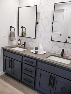 Double Sink Bathroom Vanity Makeover - Taryn Whiteaker Check out with Kids' Jack-n-Jill Bathroom with a Rustic Modern Look to it with large hexagon tile backsplash, industrial touches and charcoal blue cabinets! Bathroom Vanity Makeover, Bathroom Vanity Designs, Bathroom Sink Vanity, Modern Bathroom Design, Bathroom Ideas, Bathroom Makeovers, Bathroom Organization, Bathroom Cabinets, Remodel Bathroom