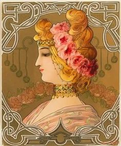 """Maiden with Flowers,"" by Mary Golay, French Art Nouveau Lithograph, circa Art Nouveau, Art Deco Artists, Alphonse Mucha, Elements Of Art, French Art, Ribbon Embroidery, Wearable Art, Pink Roses, Aurora Sleeping Beauty"