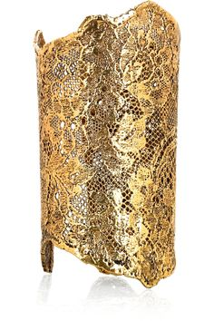 18 karat gold dipped lace cuff by AURÉLIE BIDERMANN