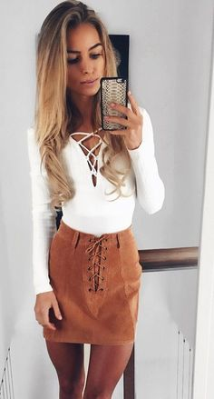 #fall #outfits · Camel Velvet Skirt + White Sweater