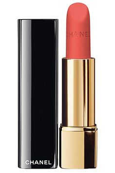 """28 Blogger-Approved Beauty Buys #refinery29 http://www.refinery29.com/san-francisco-beauty-bloggers#slide-3 Pick 3: Chanel Rouge Allure Velvet Luminous Matte Lipstick in La Favorite """"Karl the Fog may dominate S.F. summers, but I love how a pop of color goes a long way in any setting. I'm a huge fan of this lipstick because it's not as bold as most orange lipsticks, but it's still unique compared to other pinks. Matte lips also look perfect on a dewy face!"""" $34, available at Nordstrom."""