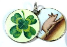 Antique French silver and enamel lucky 4-leaf clover and piggy slider charm