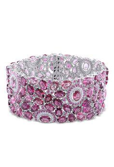 1ct Diamond, 92.375ct Pink Tourmaline & Sapphire Bracelet - Beyond the Rack