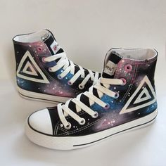 9694b60b6a76 Painted Galaxy Canvas Sneakers ( 38) ❤ liked on Polyvore featuring shoes