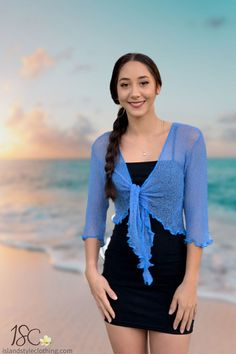 Summery Blue Ladies Sheer Shrug. Super Lightweight Knit Cardigan. You can roll this up in your bag and pop on after the sun goes down. Throw over a summer dress, jeans or shorts.  #luau #cruisewear #summer #beachcoverup #bolero #cruisewear #beachcardigan #cardigan #over-swim