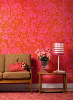 In the pink! Smashing French Floral Damask Stencil makes bold statement in bright colors | Royal Design Studio