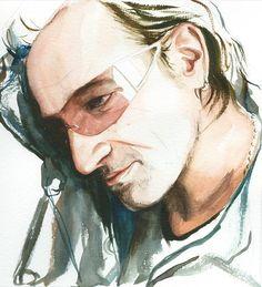 Bono by Kelly Eddington Art Music, Music Artists, U2 Band, We Will Rock You, Music Photo, Environmental Art, Figure Painting, Artist Art, Urban Art