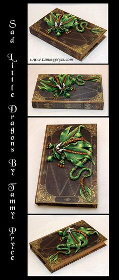 Ooak Polymer Clay Green Sad Little Dragon on Slender by TammyPryce, $50.00 #dragons #fantasyart #polymerclay #homedecor