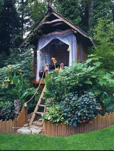 Garden hideaway...I would make it big enough for outdoor,full length, poolside patio cushions. So I could have a reading nook!