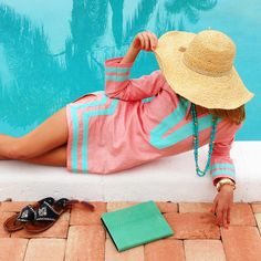 coral and turquoise tunic and monogrammed Jacks.  Sail to Sable, Palm Beach Lately Classic Tunic Dress.