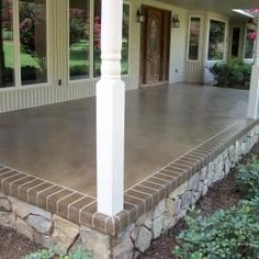 Many amazing stained and engraved concrete porches and patios. This would really change things up! Many amazing stained and engraved concrete porches and patios. This would really change things up! Beton Design, Concrete Design, Outdoor Spaces, Outdoor Living, Outdoor Decor, Outdoor Kitchens, Gazebos, Porch Flooring, Outdoor Flooring