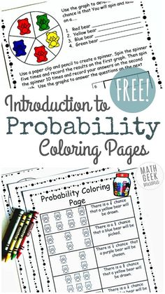 Introduce your kids to probability in a fun and easy way with this cute set of coloring probability worksheets. These are great for grade 4 and up. Probability Worksheets, Conditional Probability, Kindergarten Math Worksheets, Trigonometry, Preschool Kindergarten, Gcse Math, 7th Grade Math, Fun Math, 5th Grades