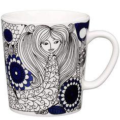 Cups & mugs - Dishware - Tableware - Finnish Design Shop Nordic Design, Scandinavian Design, Cappuccino Tassen, Ceramic Tableware, China Art, Objet D'art, Silk Screen Printing, Marimekko, Shades Of Blue