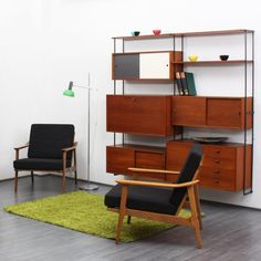 60s storage system in teak with bureau and colour elements