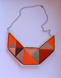 Bib necklace embroidered geometric triangles by AnAstridEndeavor