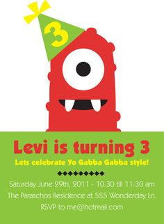 Printable Yo Gabba Gabba inspired birthday party invitation