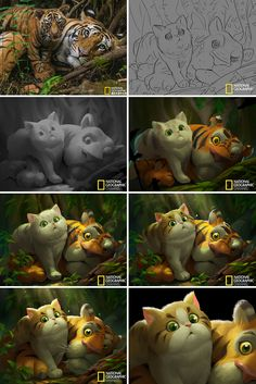 Artist Turns National Geographic Pictures Into Illustrations, And The Result Is Adorable Art And Illustration, Illustration Mignonne, Illustrations, Digital Painting Tutorials, Digital Art Tutorial, Art Tutorials, 3d Drawings, Animal Drawings, Drawing Faces