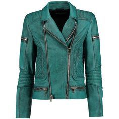 Balmain Washed-leather biker jacket (2,425 CAD) ❤ liked on Polyvore featuring outerwear, jackets, leather jackets, petrol, green quilted jacket, quilted leather jacket, quilted moto jacket, real leather jackets and green motorcycle jacket