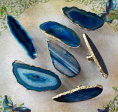 Custom 18K Gold Edge Blue Agate Slice Drawer Pulls by LandiDesigns