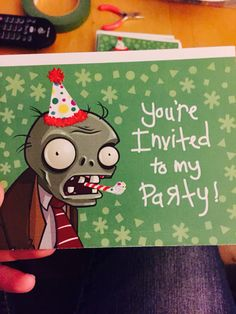 Made my own plants vs zombies birthday invitation for Kamden ! Template was free…